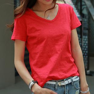夏装短袖大红色白色宽松 竹节棉V领纯色T恤女装体恤上衣
