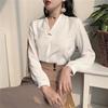 宅女家2018V领时尚气质直筒衬衫袖长袖套头雪纺衫蕾丝衫上衣