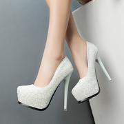 2018春季12cm超高跟鞋 细跟性感单鞋防水台白色水晶鞋 女亮片