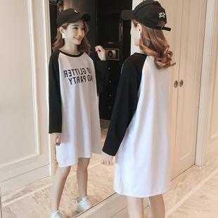 宽松大码中长款长袖t恤裙白色胖mm纯棉字母体恤打底衫上衣女装秋