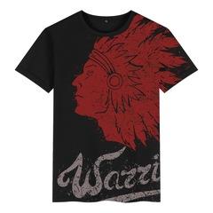 印第安酋长头像西部牛仔欧美风短袖印花男装T恤复古西海岸潮衣服