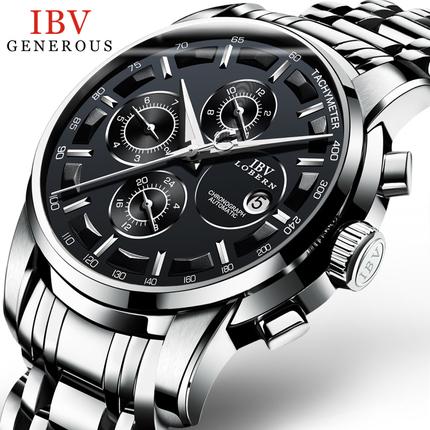 男士表正品复古 IBV全自动机械表时尚精钢带手表男士多功能复古夜光防水男表