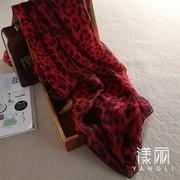 红色豹纹真丝丝巾桑蚕丝围巾超大超长披肩真丝保暖大方巾 女