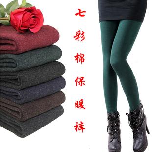 女士外穿七彩棉加绒加厚打底裤秋冬显瘦保暖踩脚袜裤不起球墨绿色