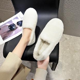 网红平底单鞋女懒人豆豆鞋加绒棉瓢鞋毛毛鞋白色2018秋冬外穿
