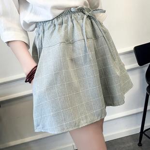 夏季棉麻格子短裤女潮宽松大码显瘦学生阔腿裙裤热裤