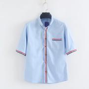 夏季牛津纺男士衬衫 2018青年拼色上衣 短袖寸衫潮 K 8-3