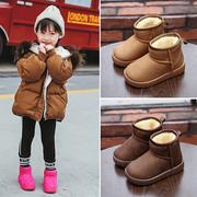 儿童雪地靴冬季男女童保暖棉鞋短筒靴加绒加厚防滑防水宝宝童鞋子