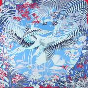 蓝色真丝围巾女韩国大牌学生丝巾图案长款披肩两用超大大方巾
