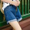 零羽女夏高腰阔腿短裤子 韩国大码宽松显瘦水洗做旧翻边牛仔短裤