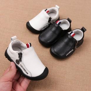 男宝宝皮鞋春秋软底男童单鞋1-3岁半女童小白鞋真皮儿童秋鞋2小童