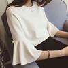 夏秋气质小清新纯色短款圆领五分袖喇叭中袖雪纺衫上衣女