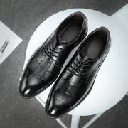 男士商务正装软底软面皮鞋男上班潮鞋秋季英伦尖头男鞋子