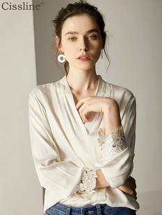 重磅真丝衬衫女2018秋装V领时尚白色桑蚕丝上衣女衬衣长袖