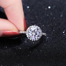 925纯银戒指日韩简约潮人个性创意开口仿真1克拉锆石钻戒女士礼物