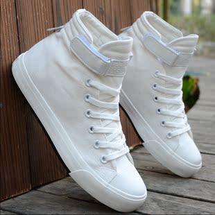 英伦白色中帮休闲板鞋情侣鞋韩版男士高帮帆布鞋潮单鞋男学生布鞋