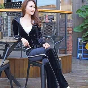 韩国金丝天鹅绒运动套装女2019春秋连帽卫衣服显瘦两件套