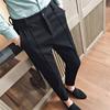 裤子男潮流百搭裤秋冬季港风男士小脚裤加绒九分西裤