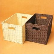 茶几编织收纳筐大号储物箱无盖仿藤编篮衣柜整理箱衣物玩具草编筐