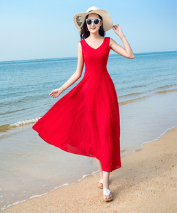 2018夏季无袖雪纺连衣裙波西米亚长裙气质海边度假沙滩裙