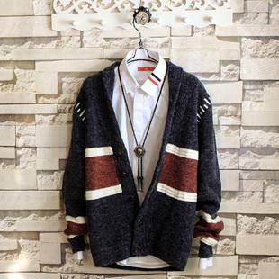 2017秋冬季男士v领针织衫开衫外套潮流拼色学生毛衣线衫