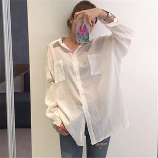 防晒衬衫女中长款宽松薄款透视棉麻上衣夏季白色长袖衬衣外套