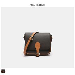 MIMIGOGO头层手掌纹牛皮拼纳帕 复古拼色马鞍方包 斜挎 C053