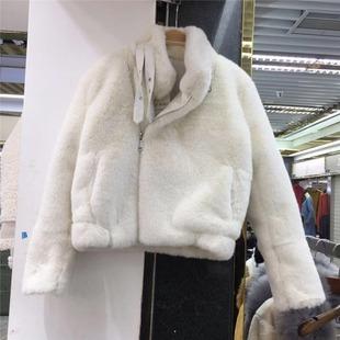 欧货冬装机车款水貂毛皮草加厚短款外套女皮毛一体整貂皮大衣
