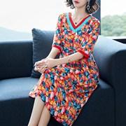 杭州丝绸宽松桑蚕丝裙子2018大牌气质欧美女装重磅真丝连衣裙