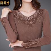 秋冬加绒网纱打底衫女长袖低领蕾丝性感洋气亮丝小衫上衣