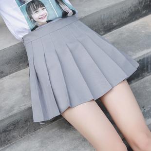 百褶裙ulzzang软妹短裙女夏高腰A字裙学生防走光格子半身裙裤