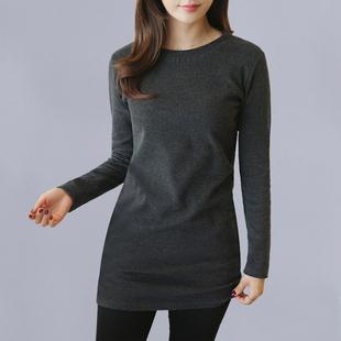 女式长袖显瘦百搭T恤女士春秋季装中长款包臀打底衫