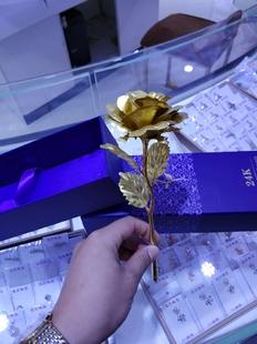 生日情人节礼物24k镀金箔玫瑰花拉丝玫瑰花束送女友爱人永生花束
