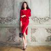 2020秋装韩版女装气质圆领修身系带长袖包臀中长款开叉连衣裙