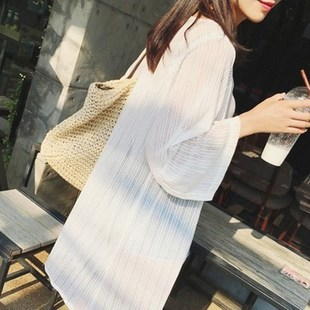 针织开衫女中长款冰丝薄款潮宽松外搭披肩雪纺长衫夏季防晒衣