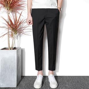 夏季九分西裤男士裤薄款小脚垂感小西裤免烫长裤子潮