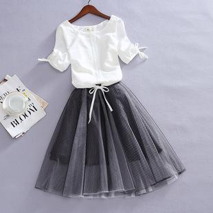 2018夏季大码短袖宽松雪纺衫女显瘦网纱蓬蓬连衣裙两件套