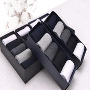 男士秋冬纯棉袜子男黑色中筒袜商务棉袜吸汗纯色高档礼盒装袜
