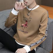 男士长袖t恤圆领加厚秋冬上衣服青年帅气潮流卫衣加绒打底衫