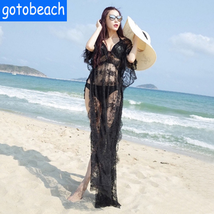 2018女夏性感沙滩衣镂空长裙全蕾丝透视连衣裙防晒比基尼罩衫