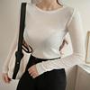 韩国性感显胸微透弹力紧身长袖t恤女打底衫时尚气质上衣秋冬