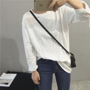 长袖白T恤 简约纯色百搭圆领套头宽松纯棉竹节棉中长款打底衫女秋