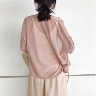短款防晒衣女2018夏季百搭空调衫女开衫冰丝针织小外套潮