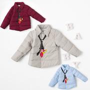 男童装羽绒内胆上衣中小儿童羽绒服薄款外套宝宝短款衬衫领带内胆