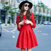 秋冬小红裙长袖红色连衣裙打底大码蓬蓬裙新娘结婚礼服回门大红色