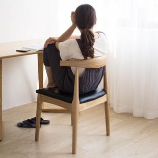 北欧实木牛角椅子餐厅靠背餐椅现代简约家用书桌椅椅时尚欧式