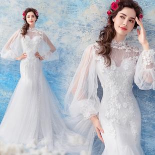 天使嫁衣 2018春季温柔仙长袖鱼尾拖尾蕾丝婚纱礼服1608