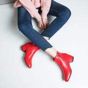 方头红色婚鞋粗跟中跟短靴短筒及裸靴单靴女靴子大码小码41