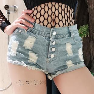 夏季女牛仔短裤热裤欧美牛仔裤夜店女装性感高腰破洞个性潮流女裤