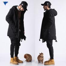冬季国潮原创黑色燕尾中长款男士连帽风衣工装外套加厚大码棉衣潮